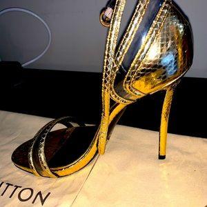 Louis Vuitton exotic gold python snd lucite heels